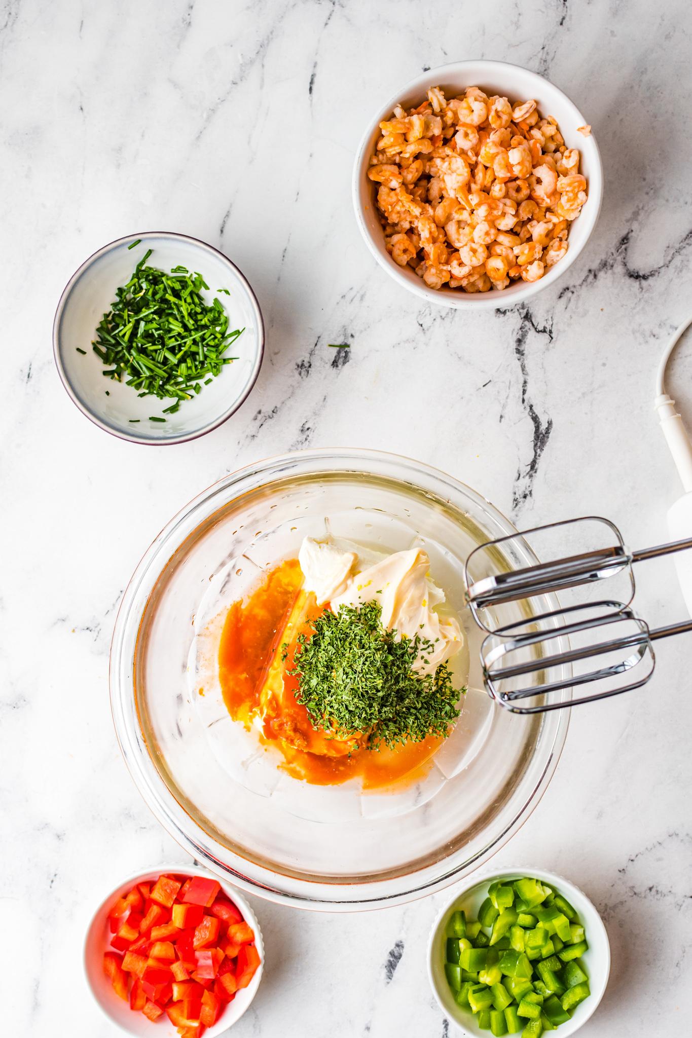 Shrimp Dip Recipe with mixer.