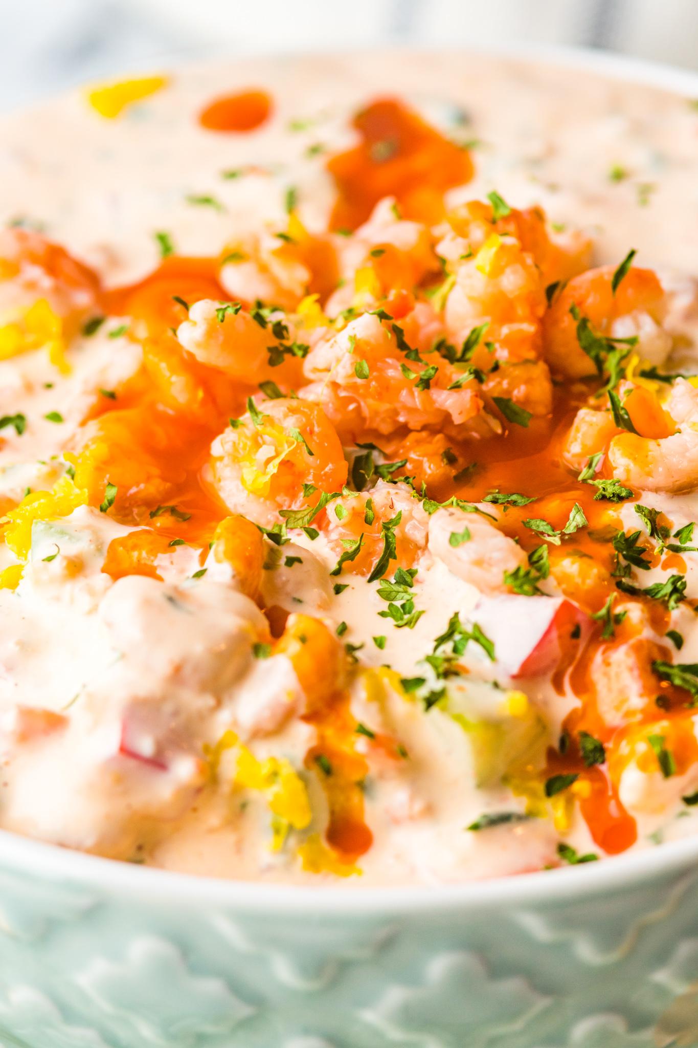 Shrimp Dip Recipe with hot sauce.