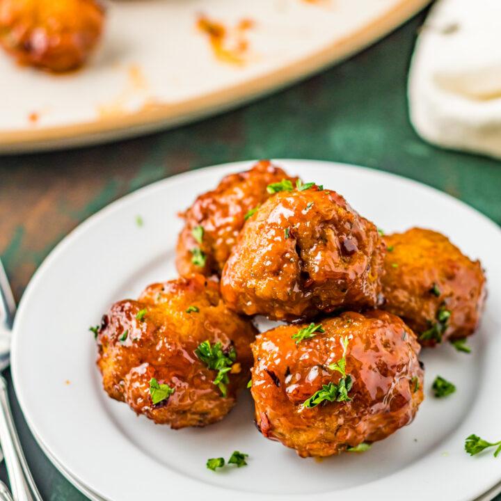 Air Fryer Meatballs on a plate.