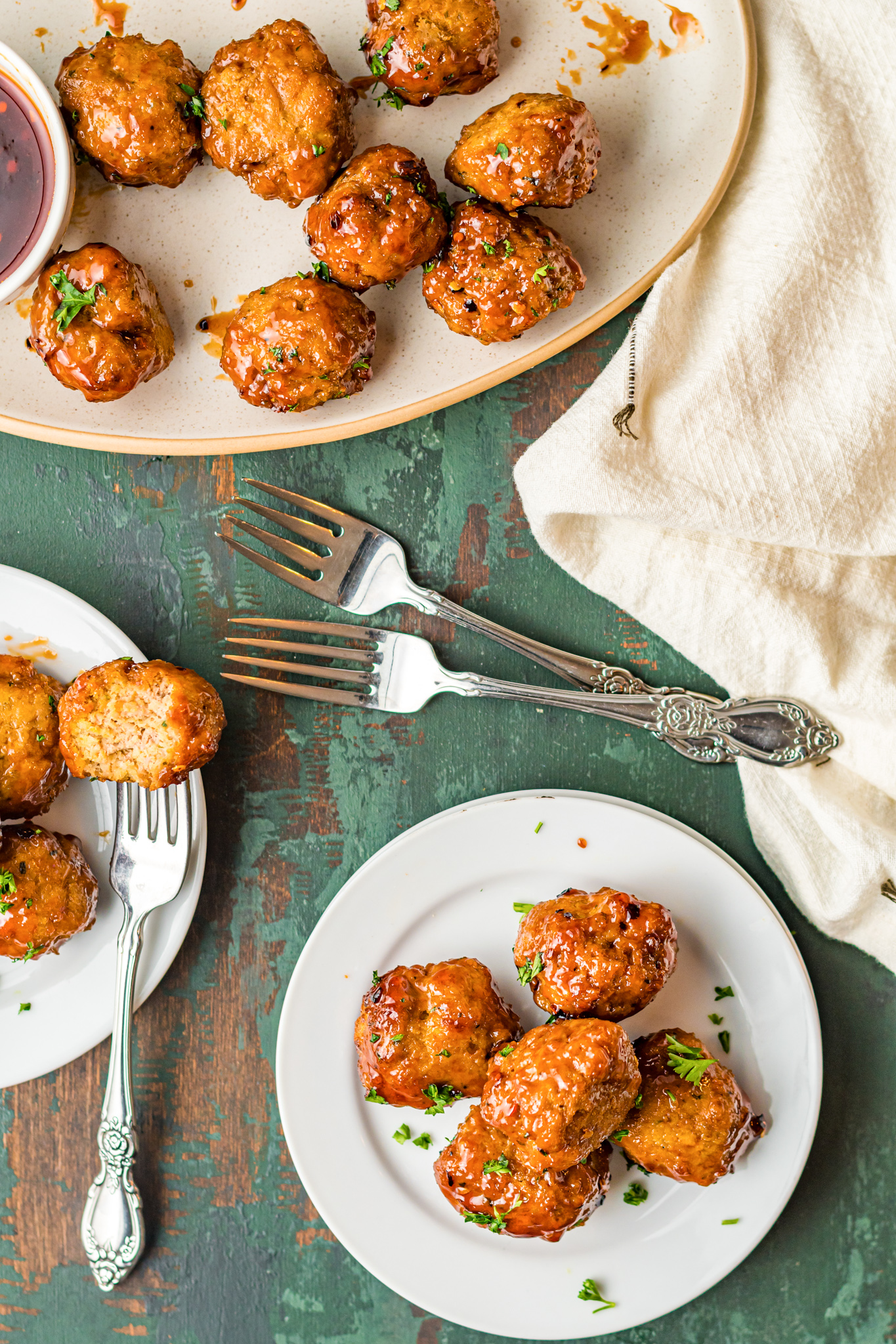 Air Fryer Meatballs with forks.