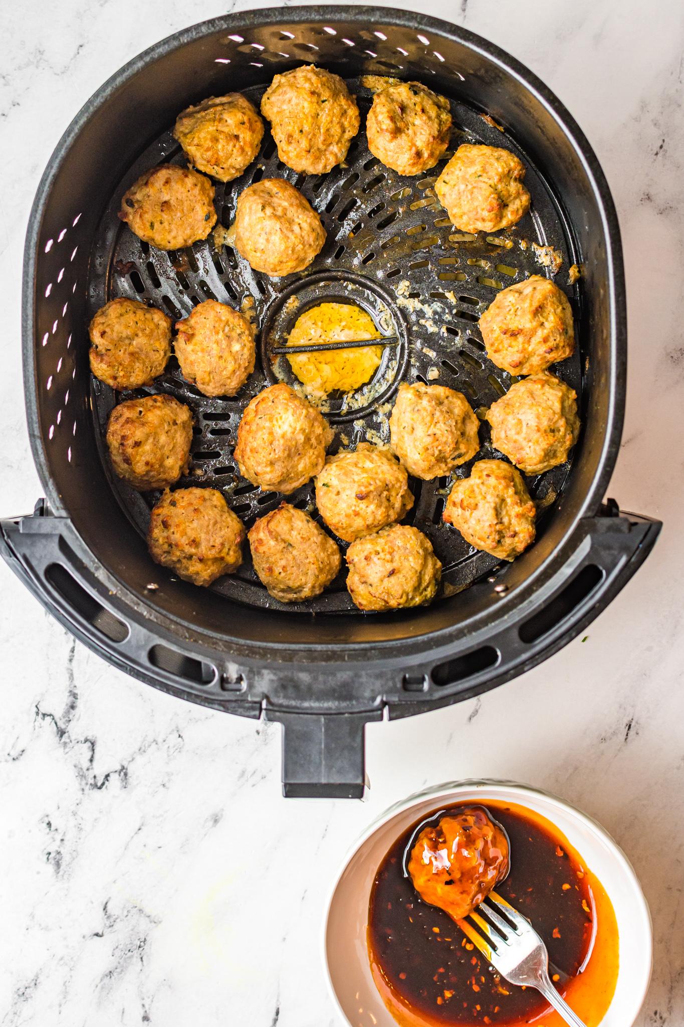 Air Fryer Meatballs in the air fryer.