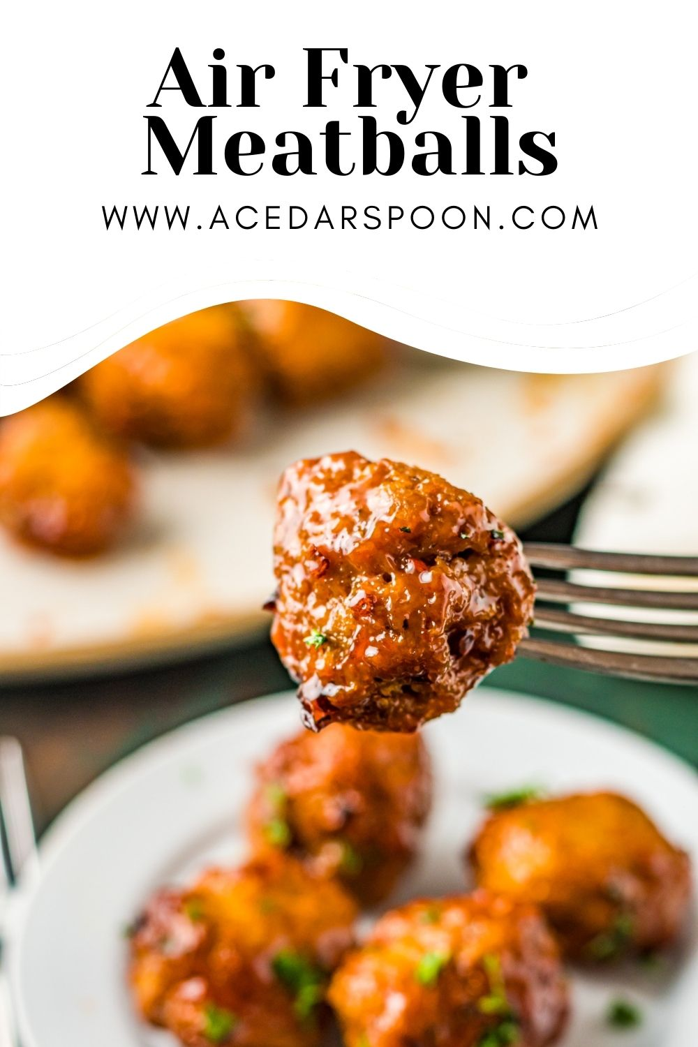 Air Fryer Meatballs with logo.
