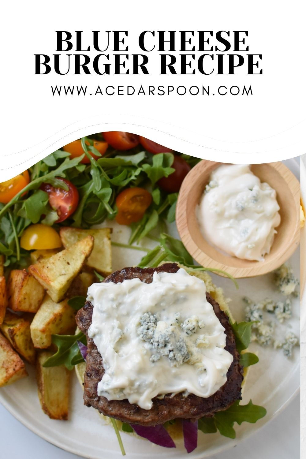 Easy Blue Cheese Burger with logo.