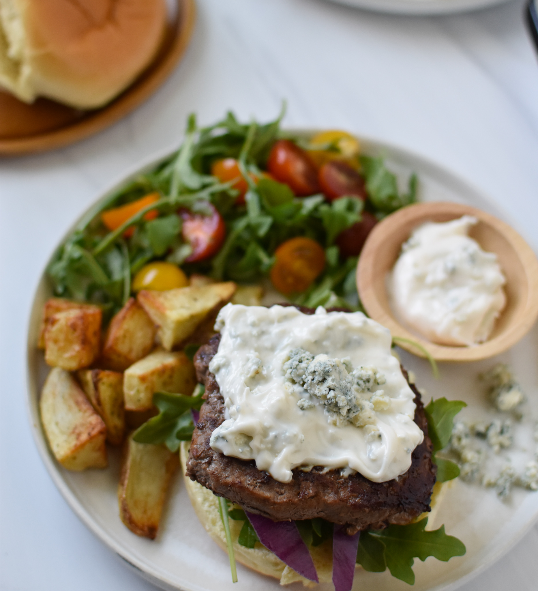 Easy Blue Cheese Burger with blue cheese sauce.