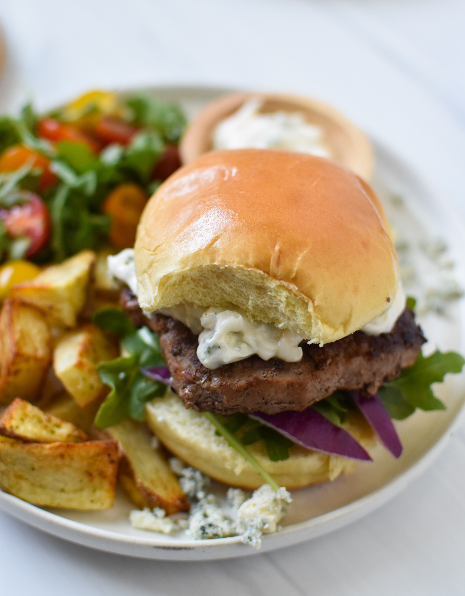 Easy Blue Cheese Burger on a plate.