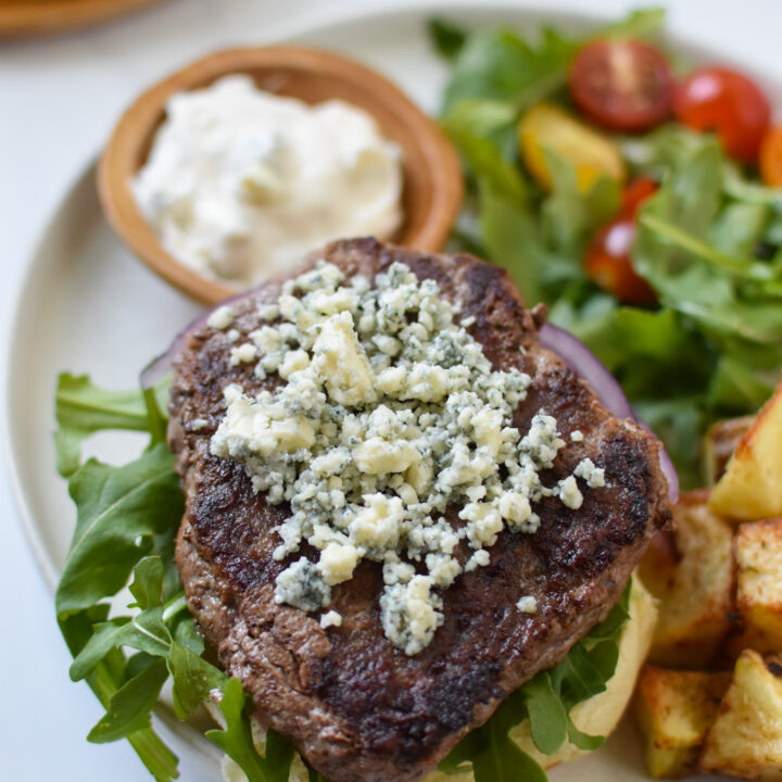 Easy Blue Cheese Burger with blue cheese topping.