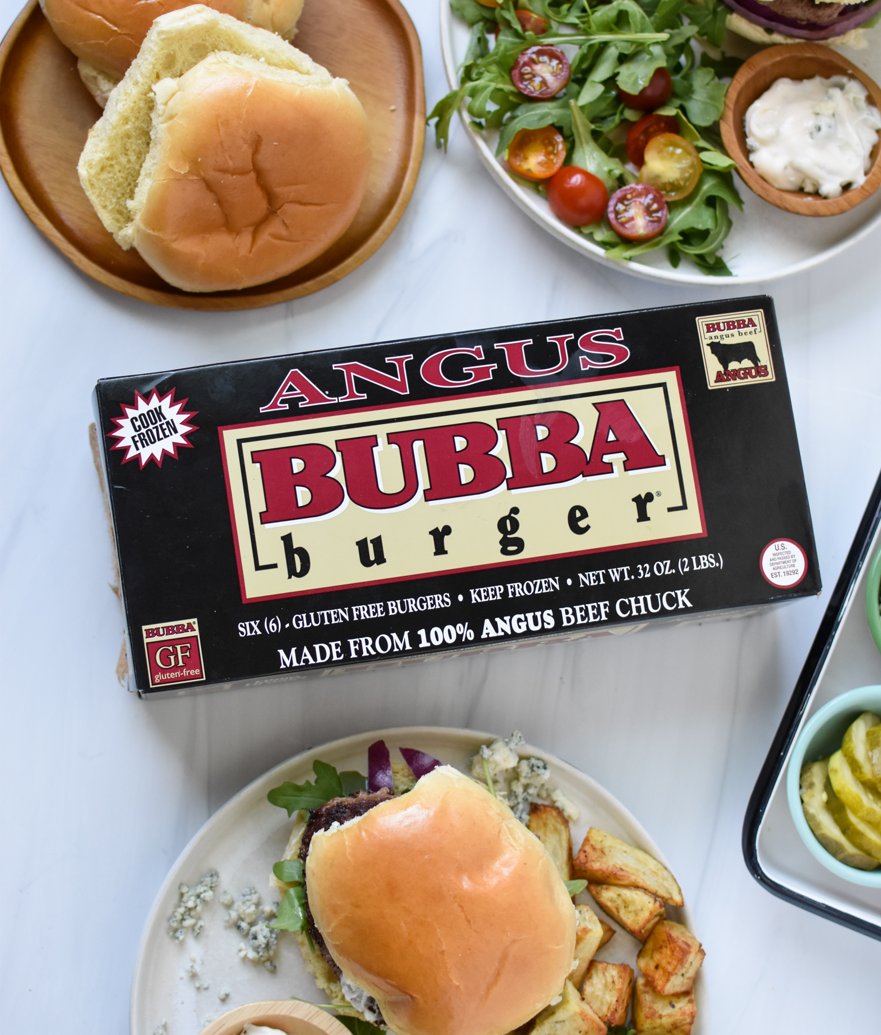 Easy Blue Cheese Burger with box of angus burgers.