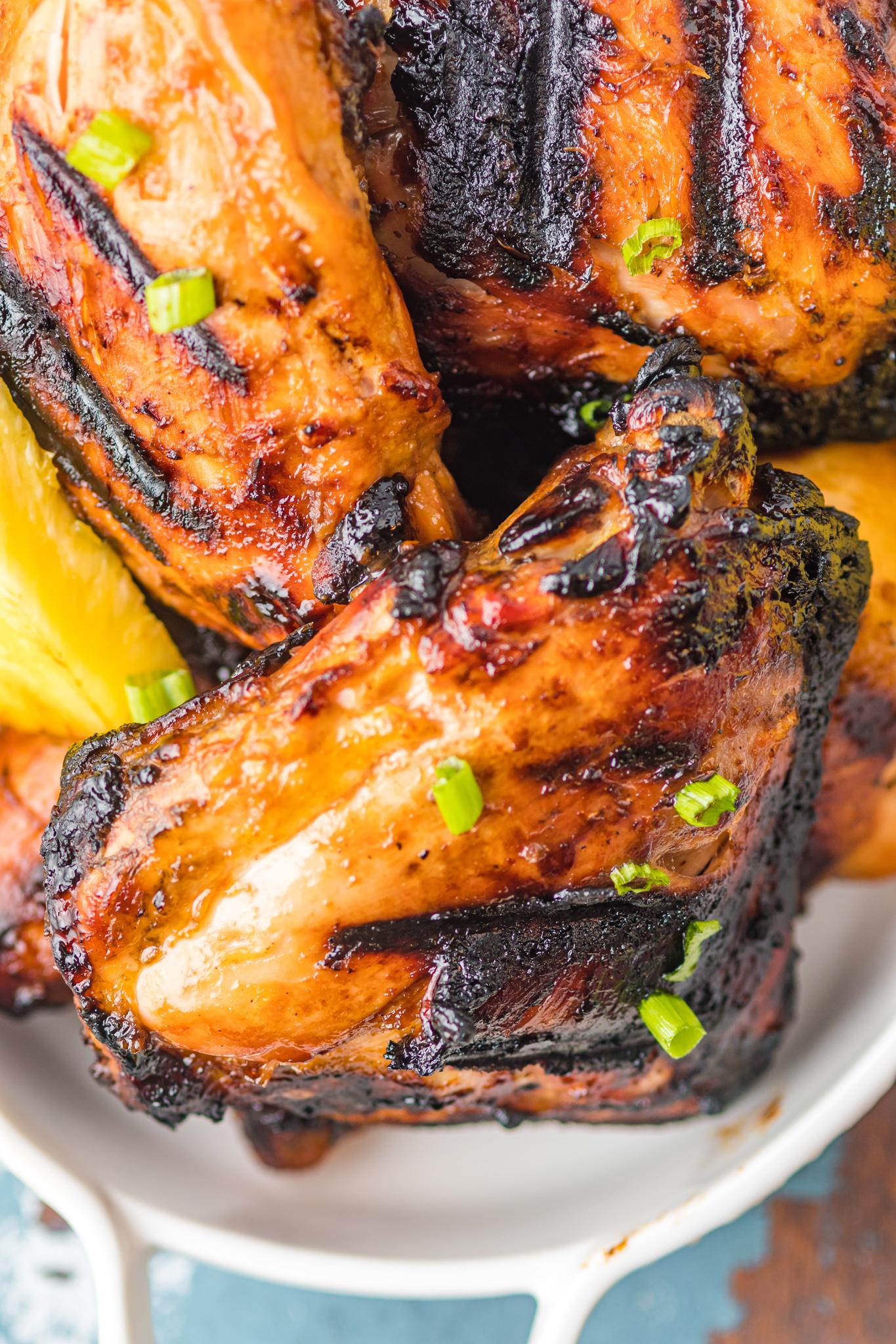 Grilled Huli Huli Chicken on a platter.