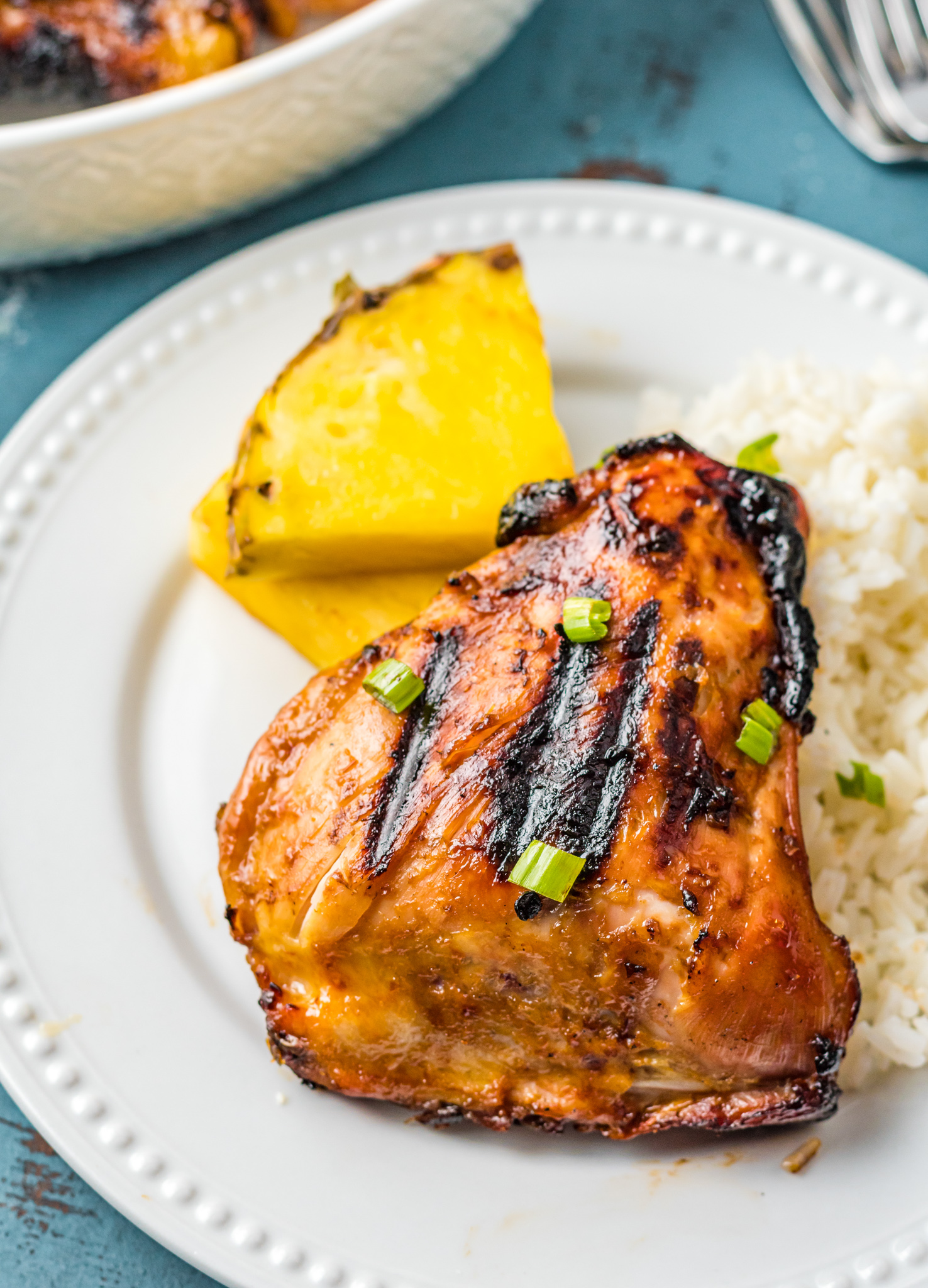 Grilled Huli Huli Chicken with pineapple.