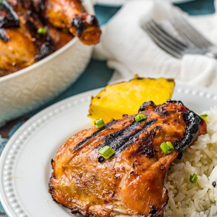 Grilled Huli Huli Chicken on a white plate.