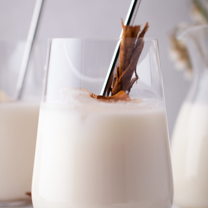 Horchata Recipe in a glass cup.