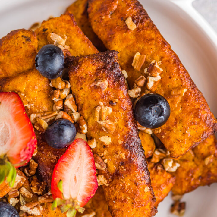 Air Fryer French Toast Sticks in a casserole dish.