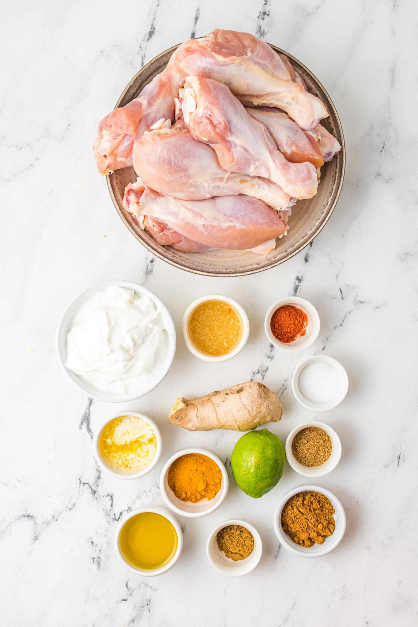 Air Fryer Tandoori Chicken Legs ingredients.
