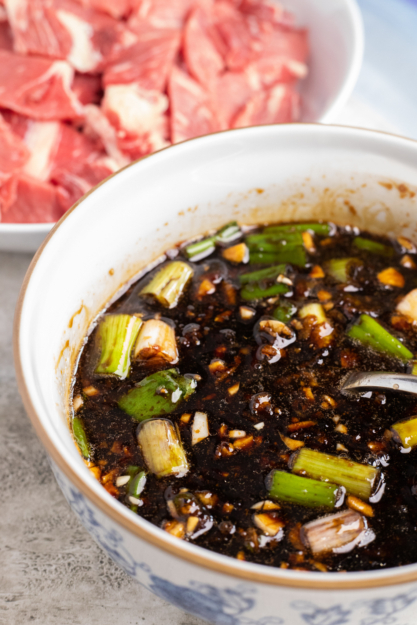 Beef Bulgogi with Zucchini Noodles in a bowl.