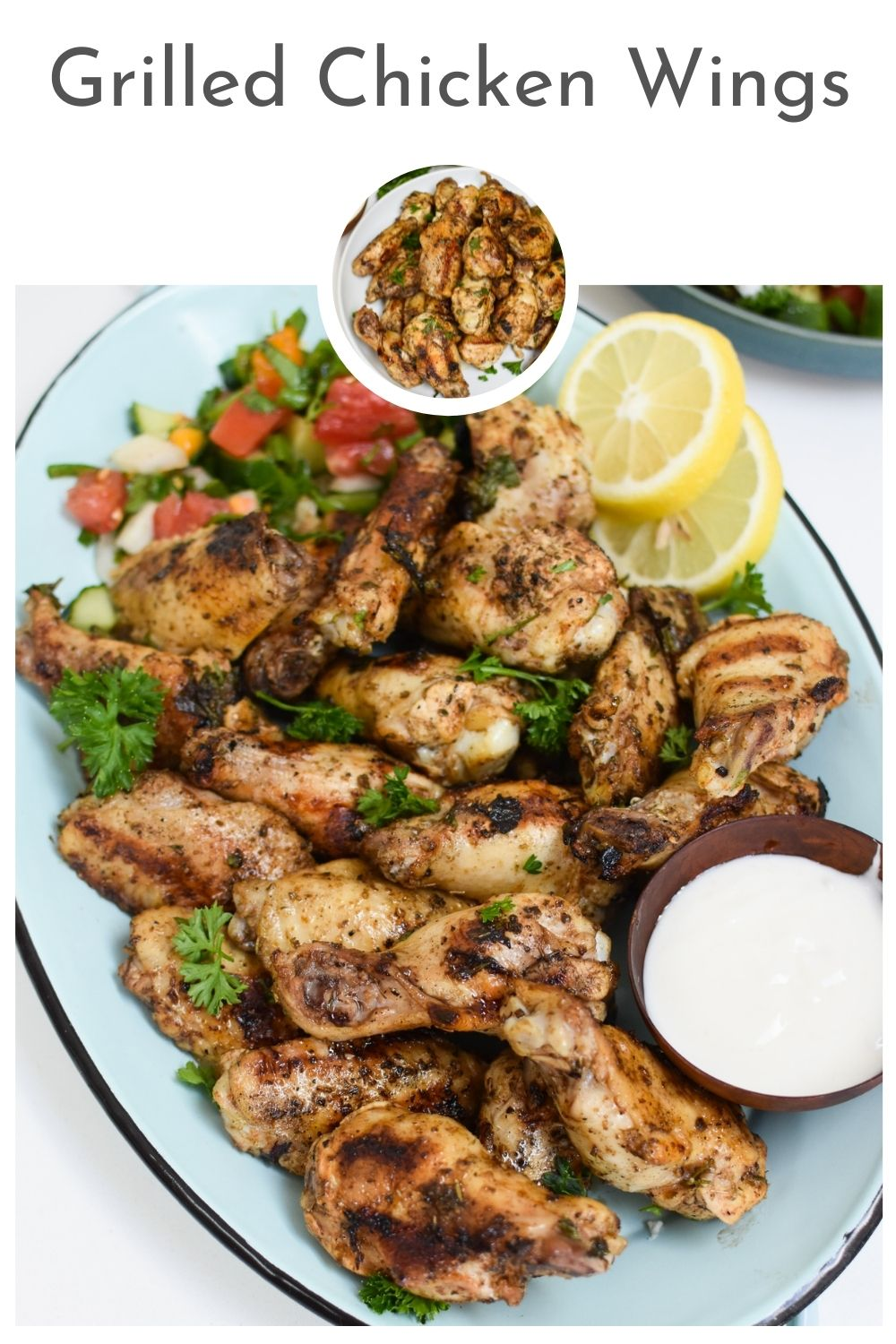 Grilled Mediterranean Chicken Wings with logo.