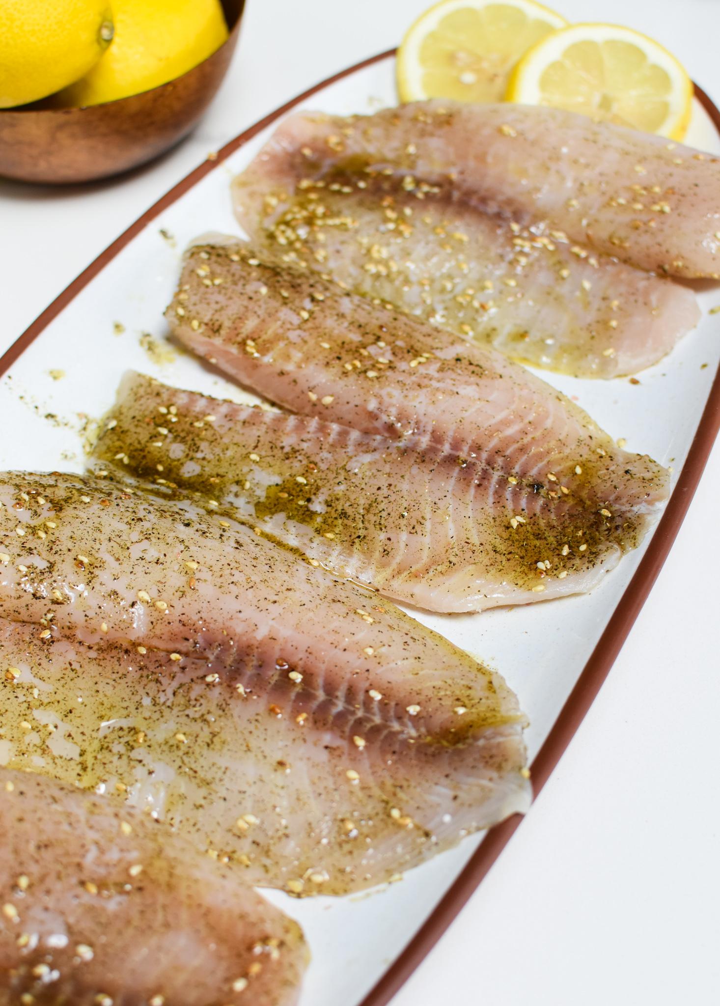 Mediterranean Baked Tilapia on a platter.