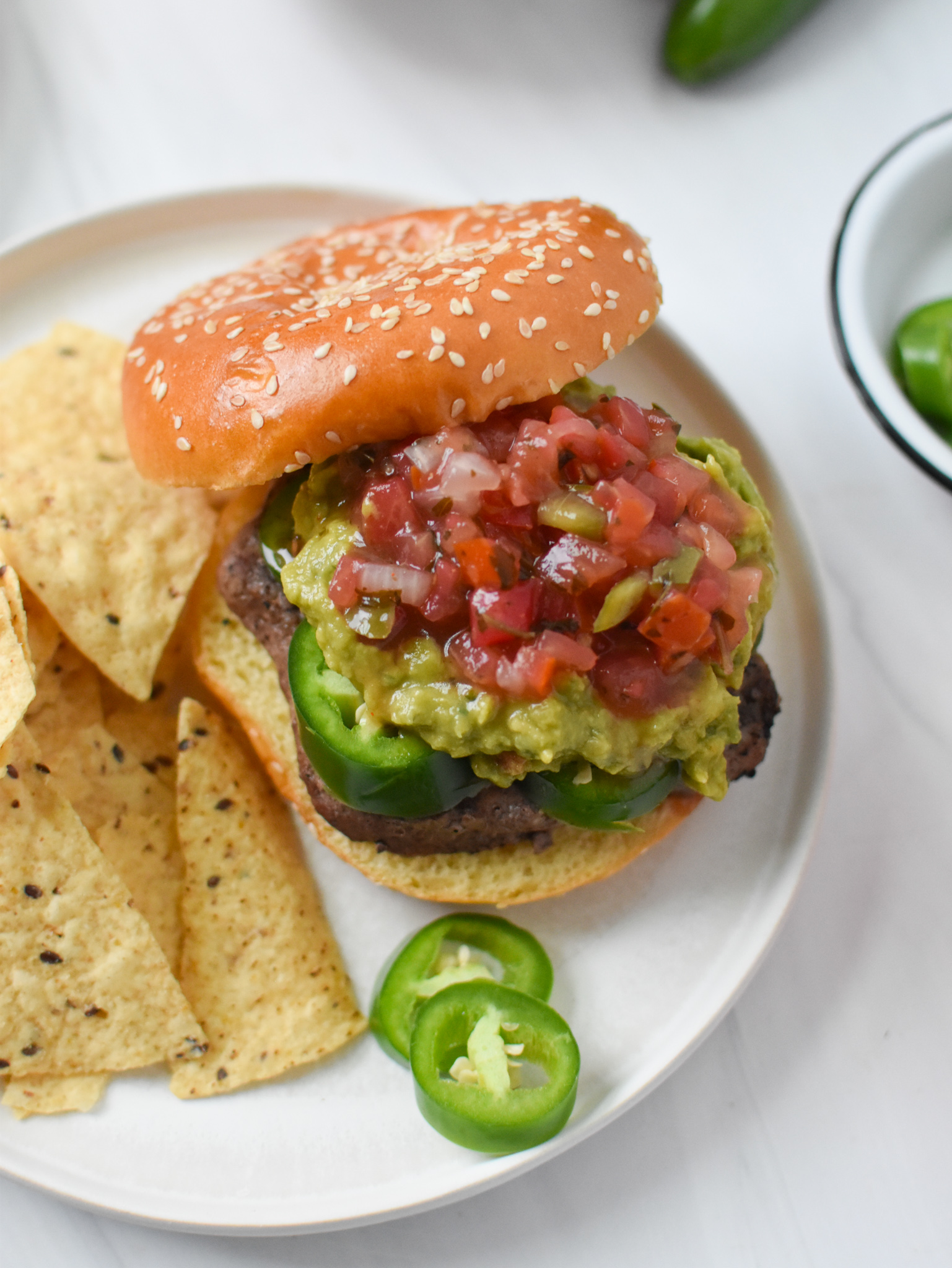 Tex Mex Burger with jalapeños.