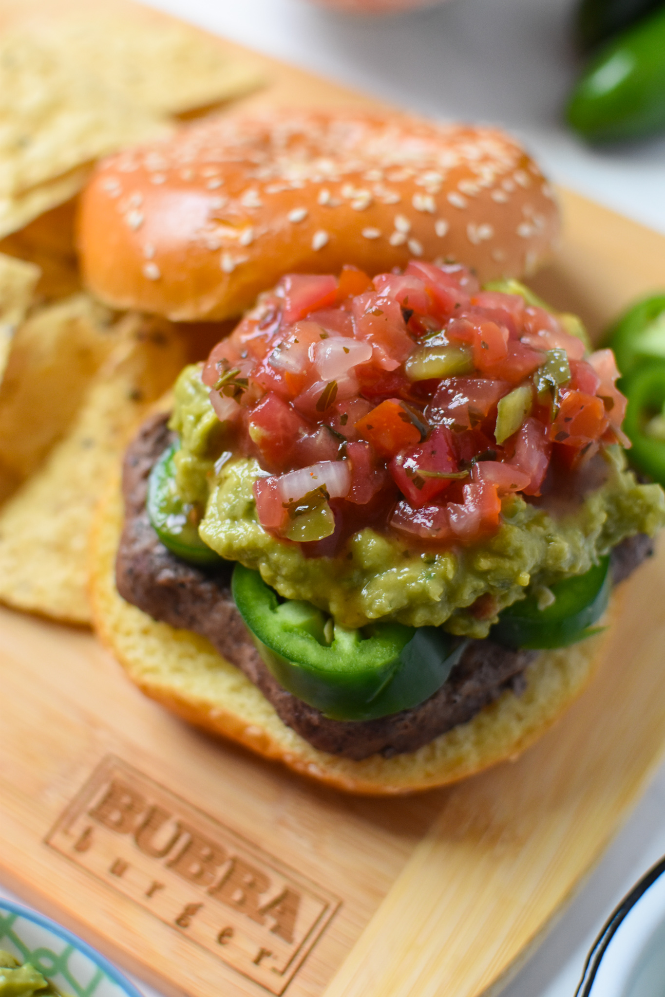Tex Mex Burger with guacamole.