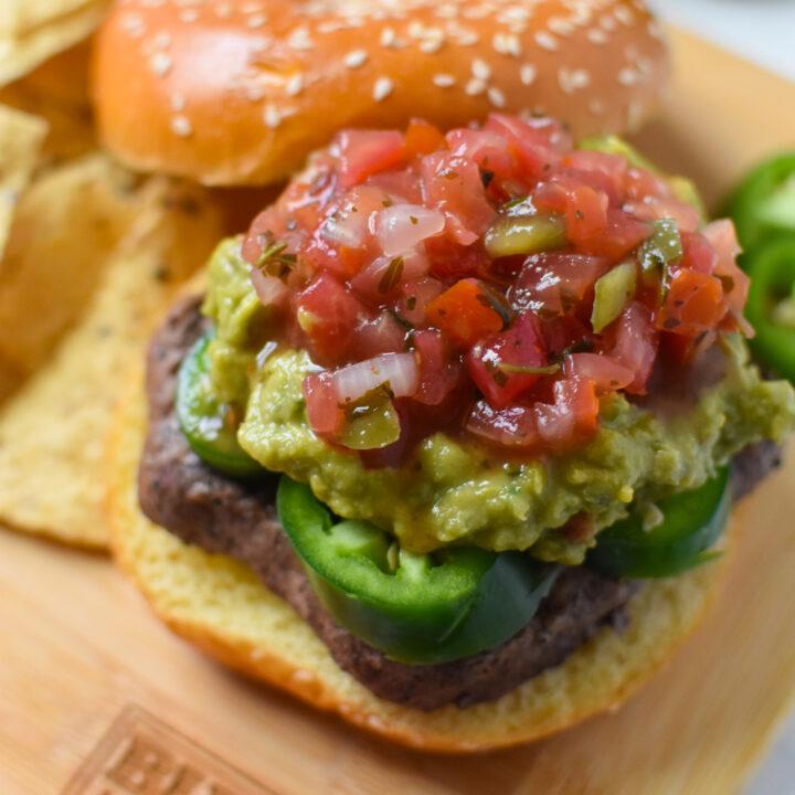 Tex Mex Burger with pico de gallo.