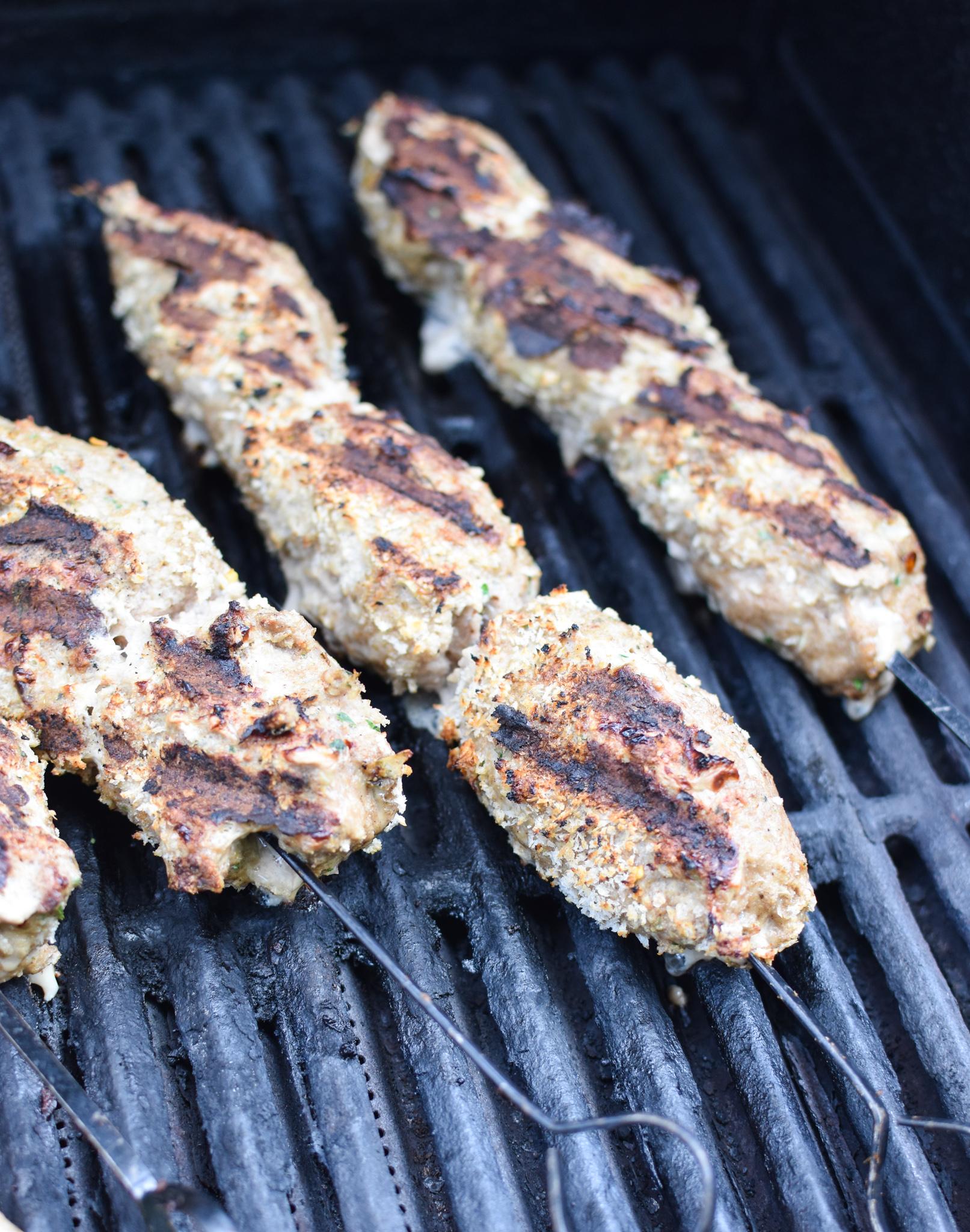 Turkey Kofta Kebab Recipe kebabs on gril.