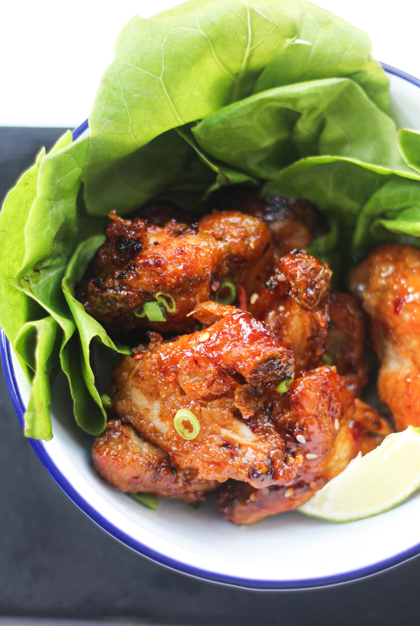 Air Fryer Chicken Wings Recipe with green onions.