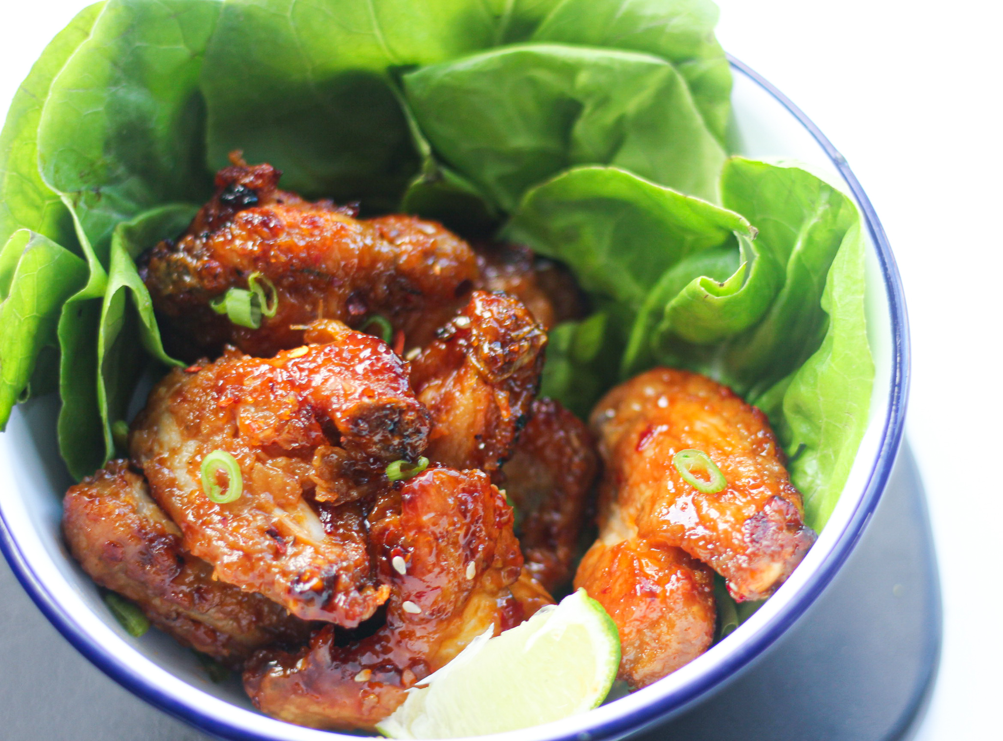 Air Fryer Chicken Wings Recipe with lettuce.