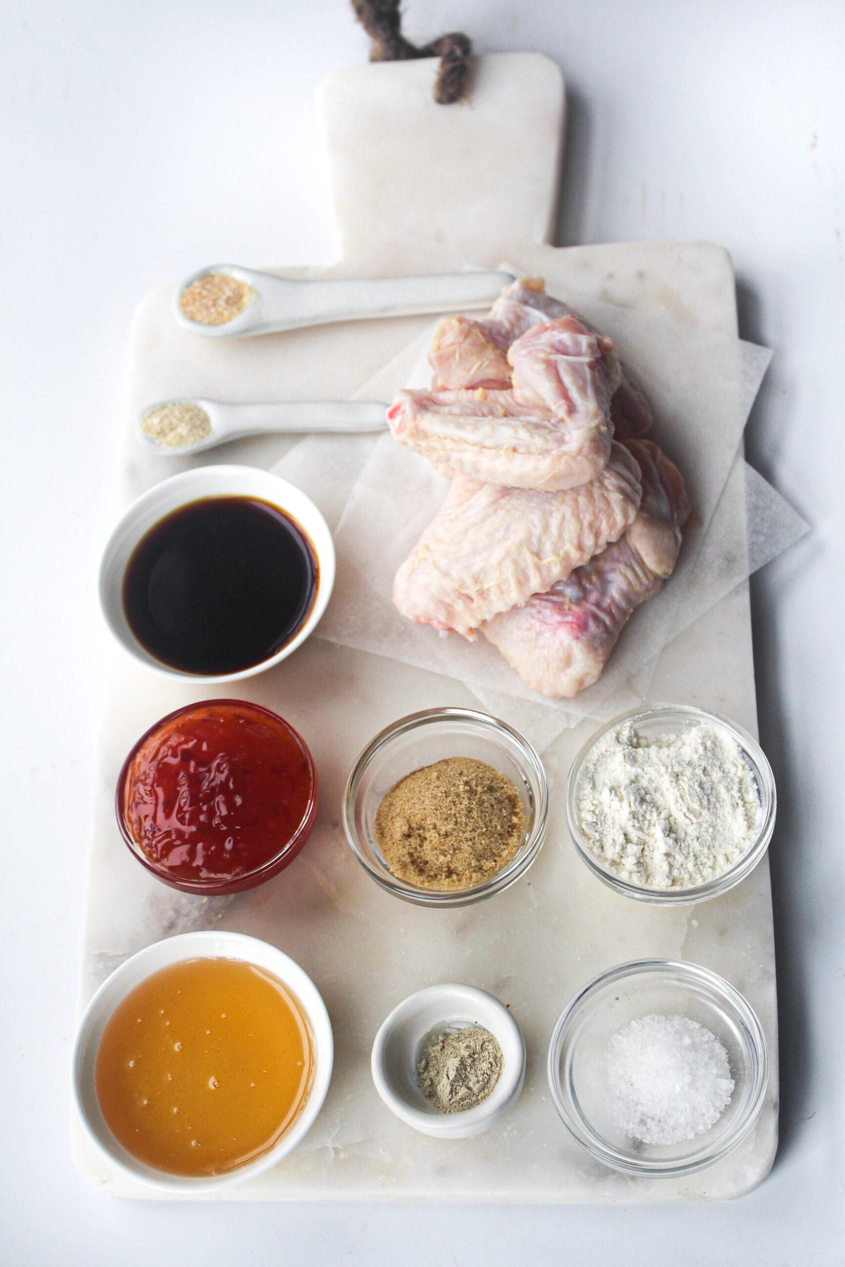 Air Fryer Chicken Wings Recipe ingredients.