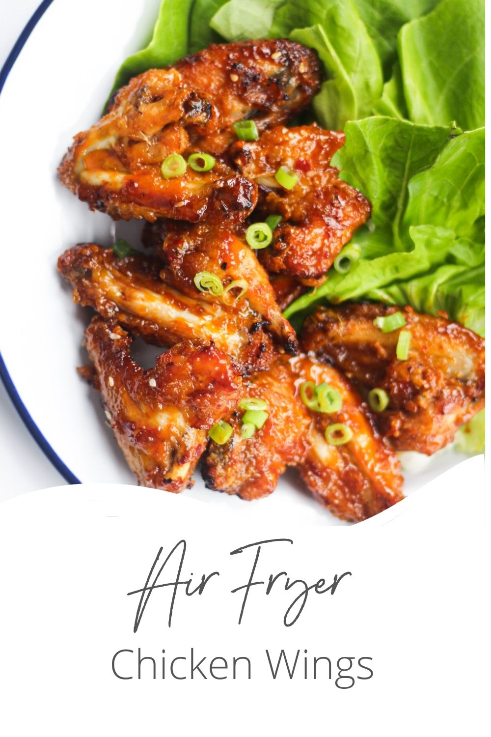 Air Fryer Chicken Wings Recipe with logo.