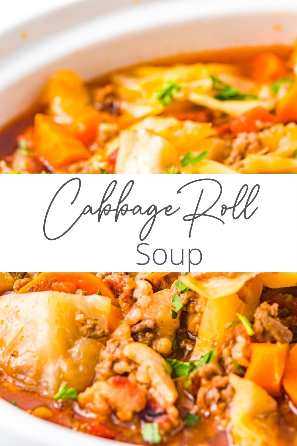 Cabbage Roll Soup with logo.