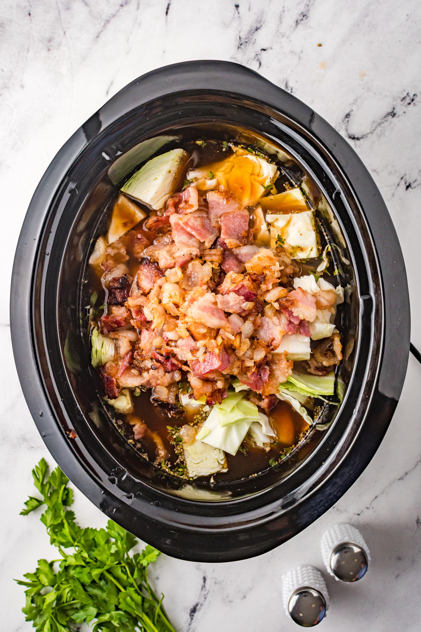 Cabbage Roll Soup in slow cooker.