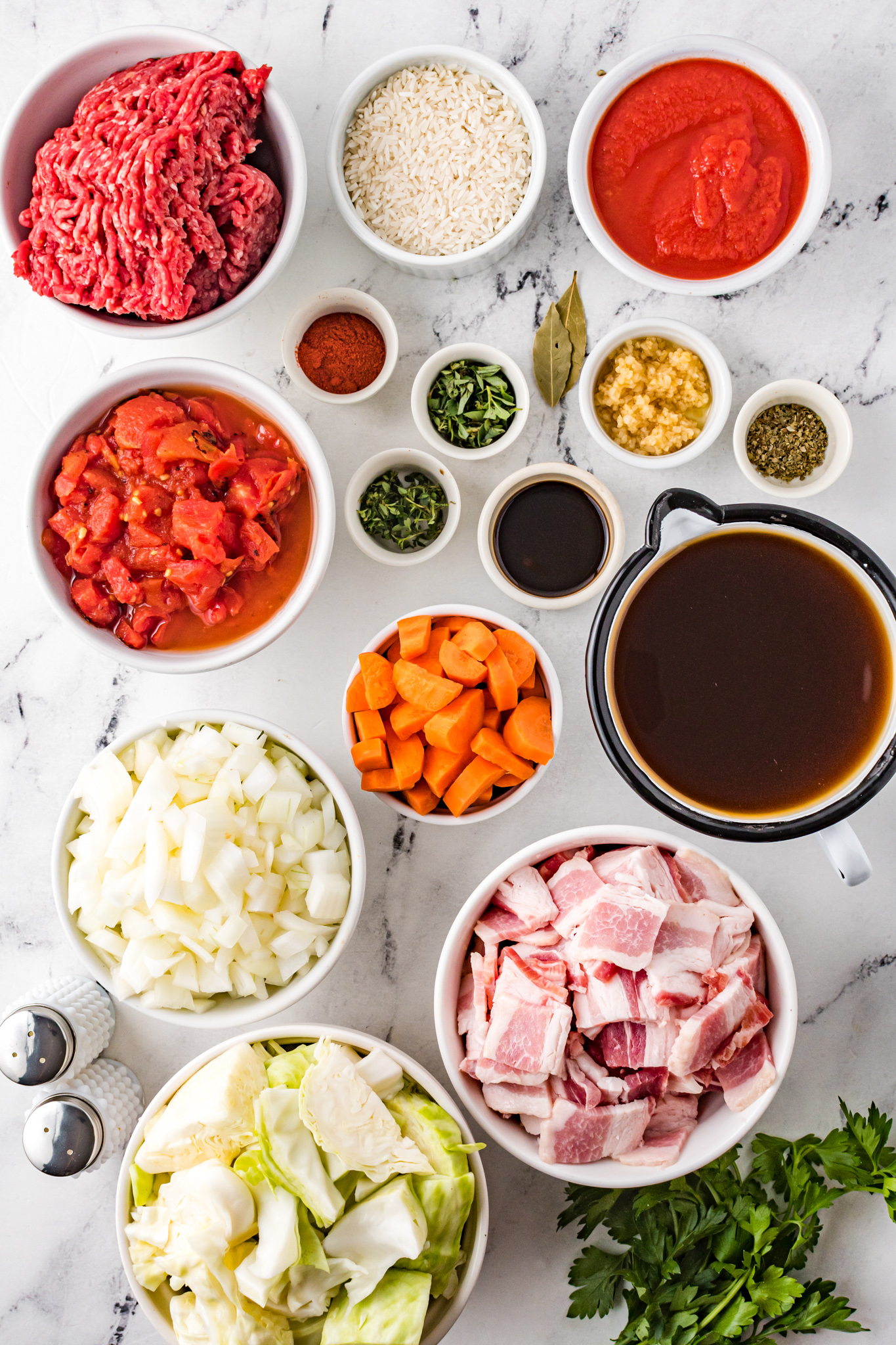 Cabbage Roll Soup ingredients.