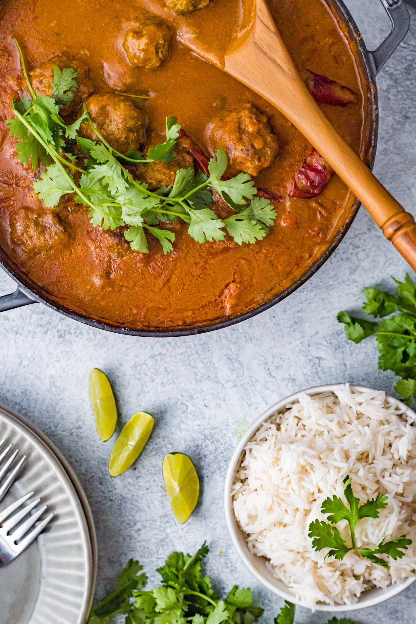 Curry Meatballs Recipe with spoon.