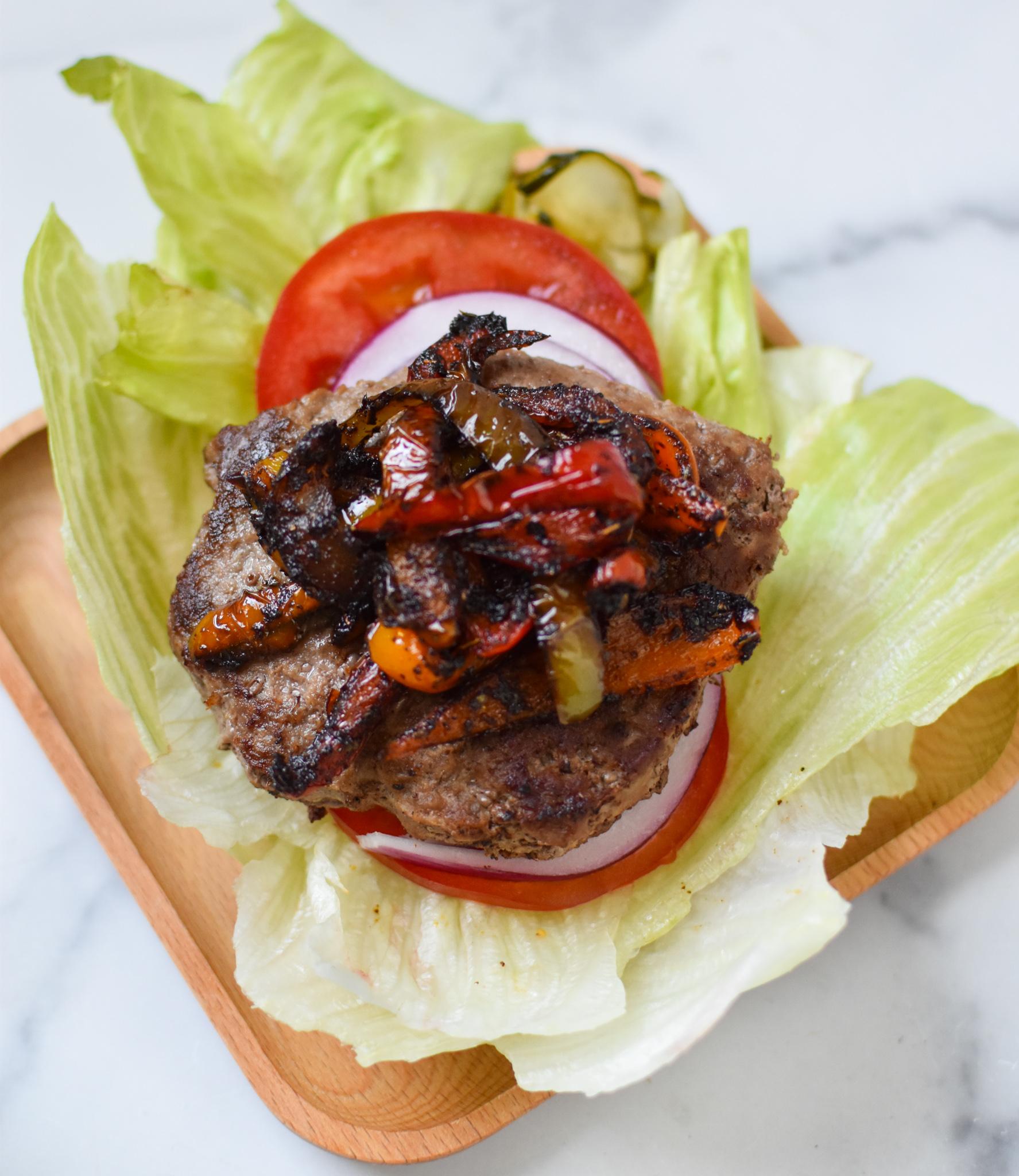 Fajita Lettuce Burger on lettuce.