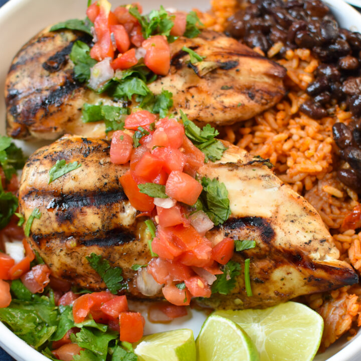 Margarita Grilled Chicken in a rice bowl.