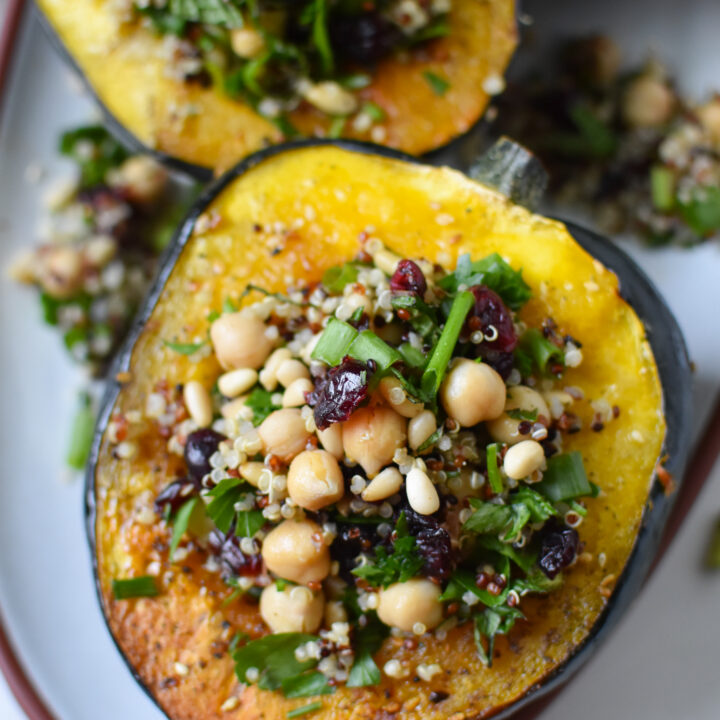 Mediterranean Stuffed Acorn Squash with chickpeas and cranberries.