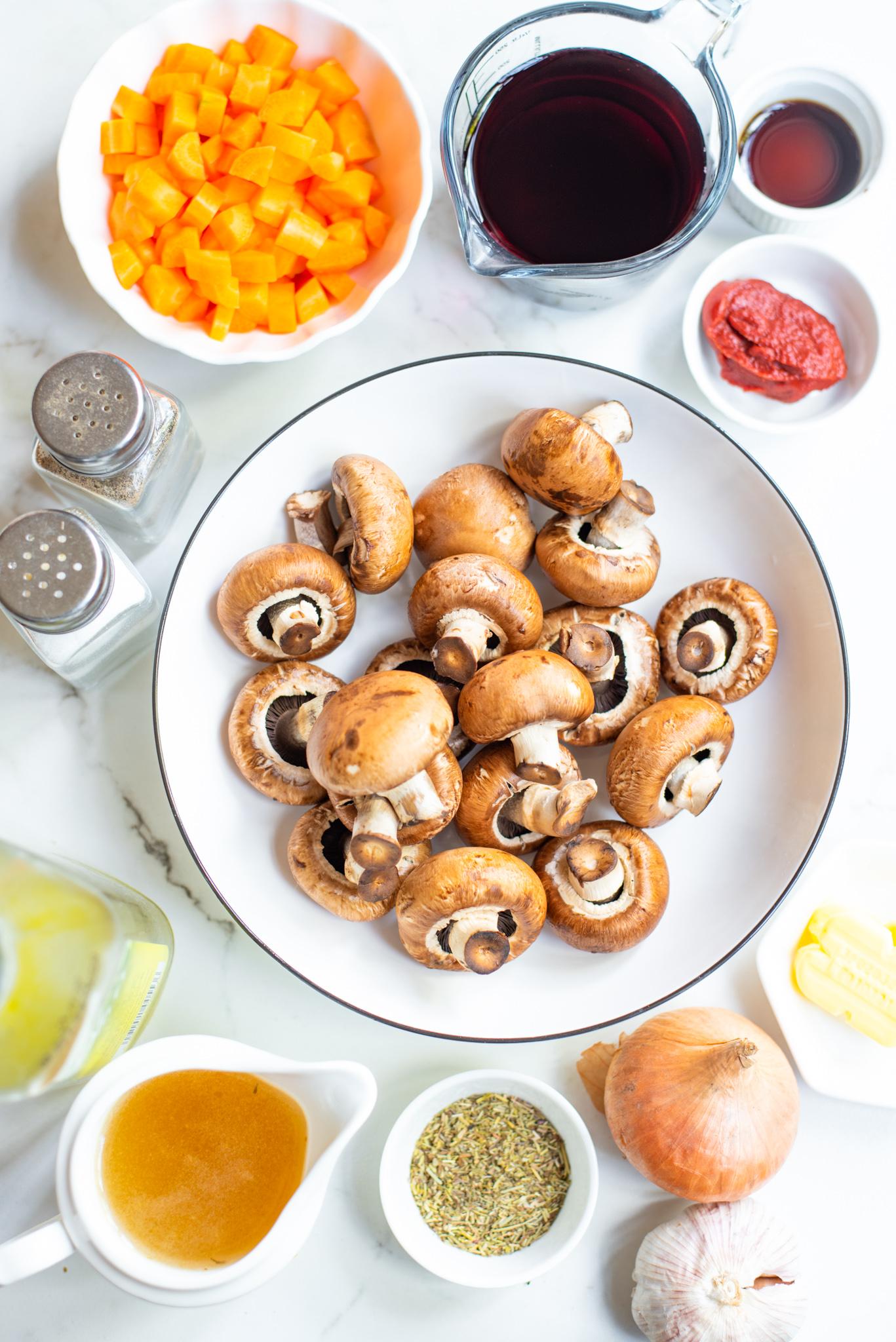 Mushroom Bourguignon ingredients.