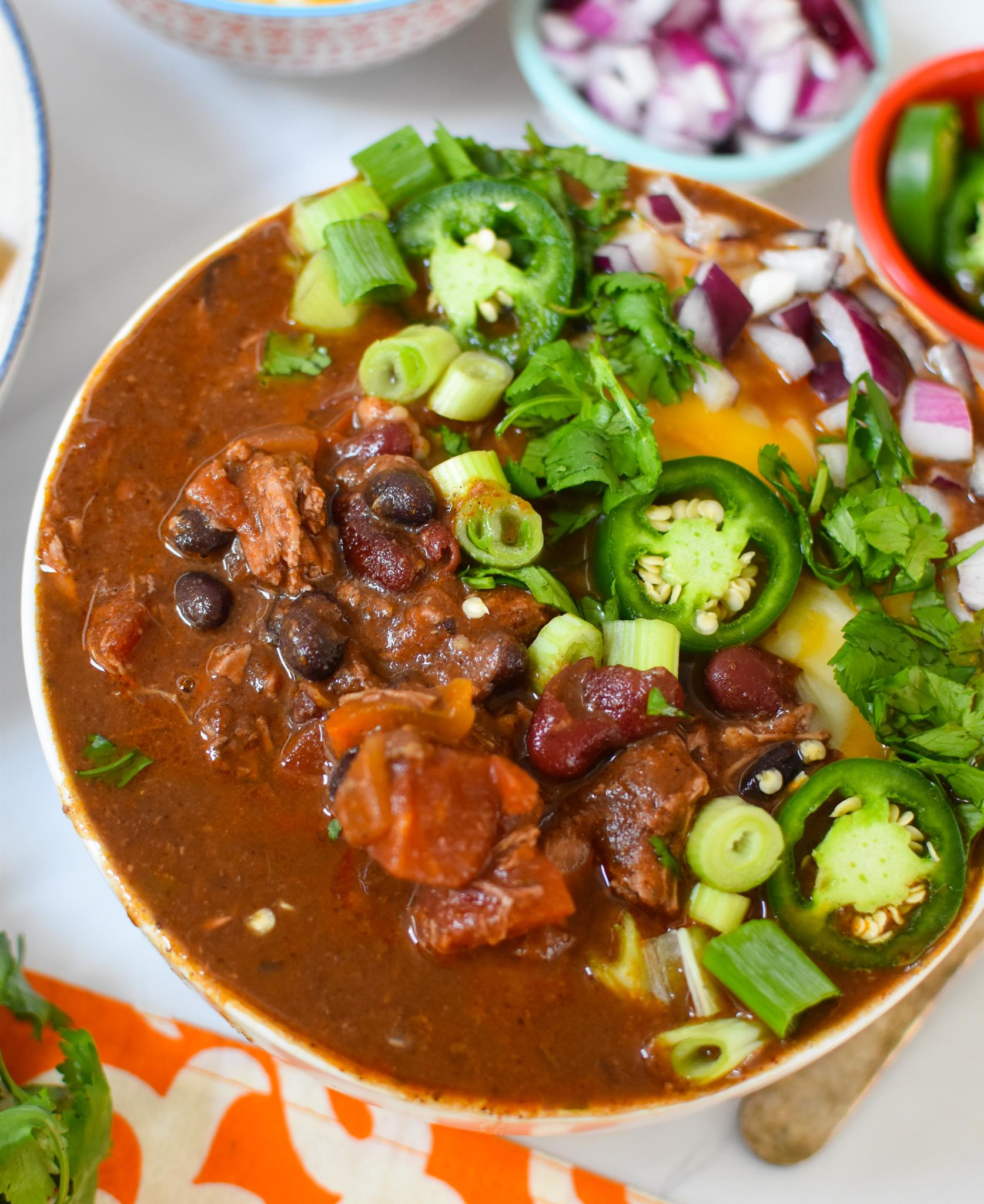 Chili Con Carne with cilantro.