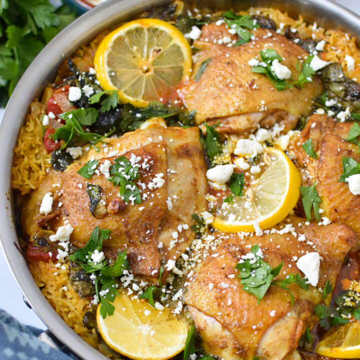 One Pot Mediterranean Chicken and Rice with feta cheese.