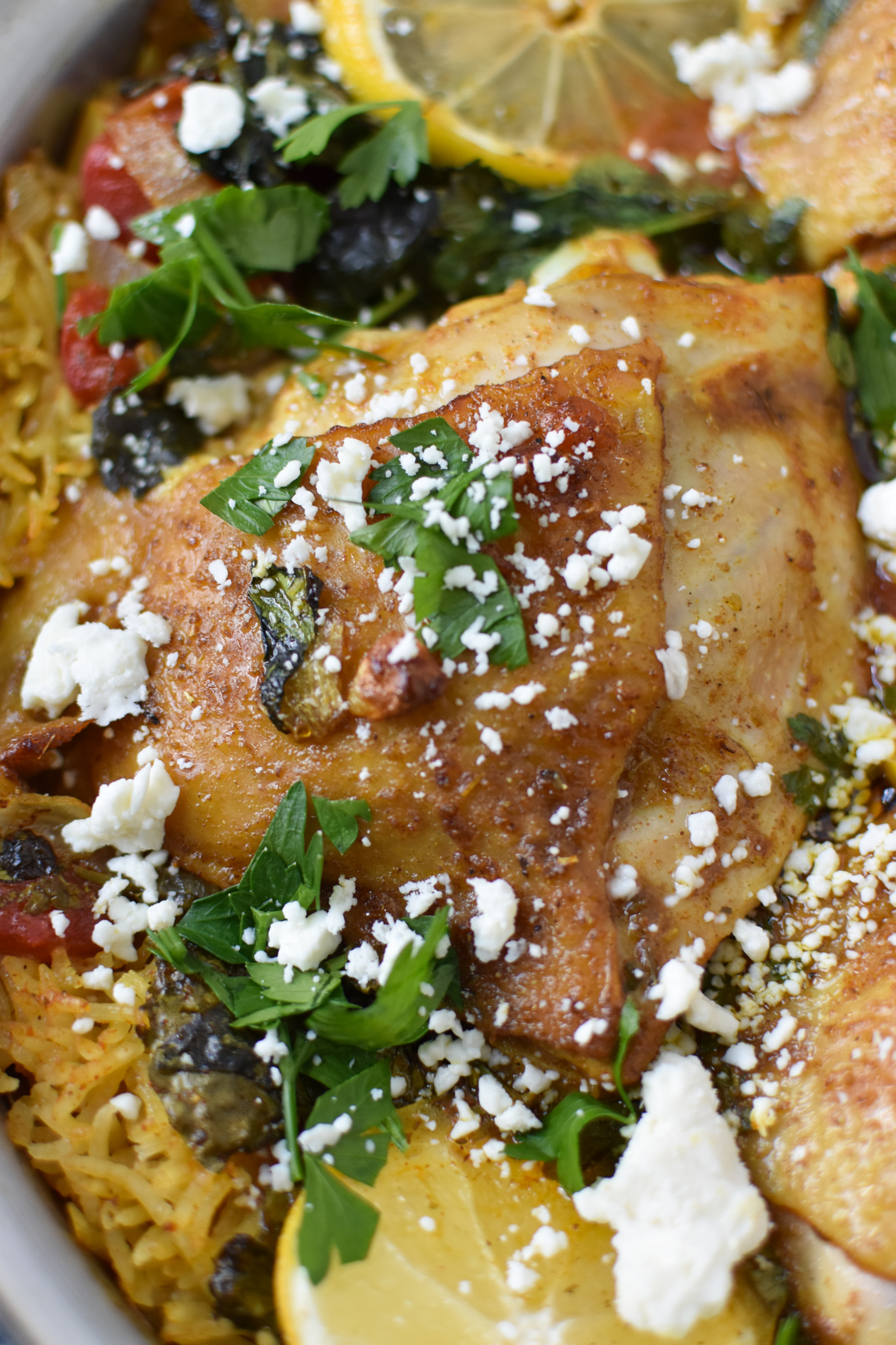 One Pot Mediterranean Chicken and Rice with parsley.