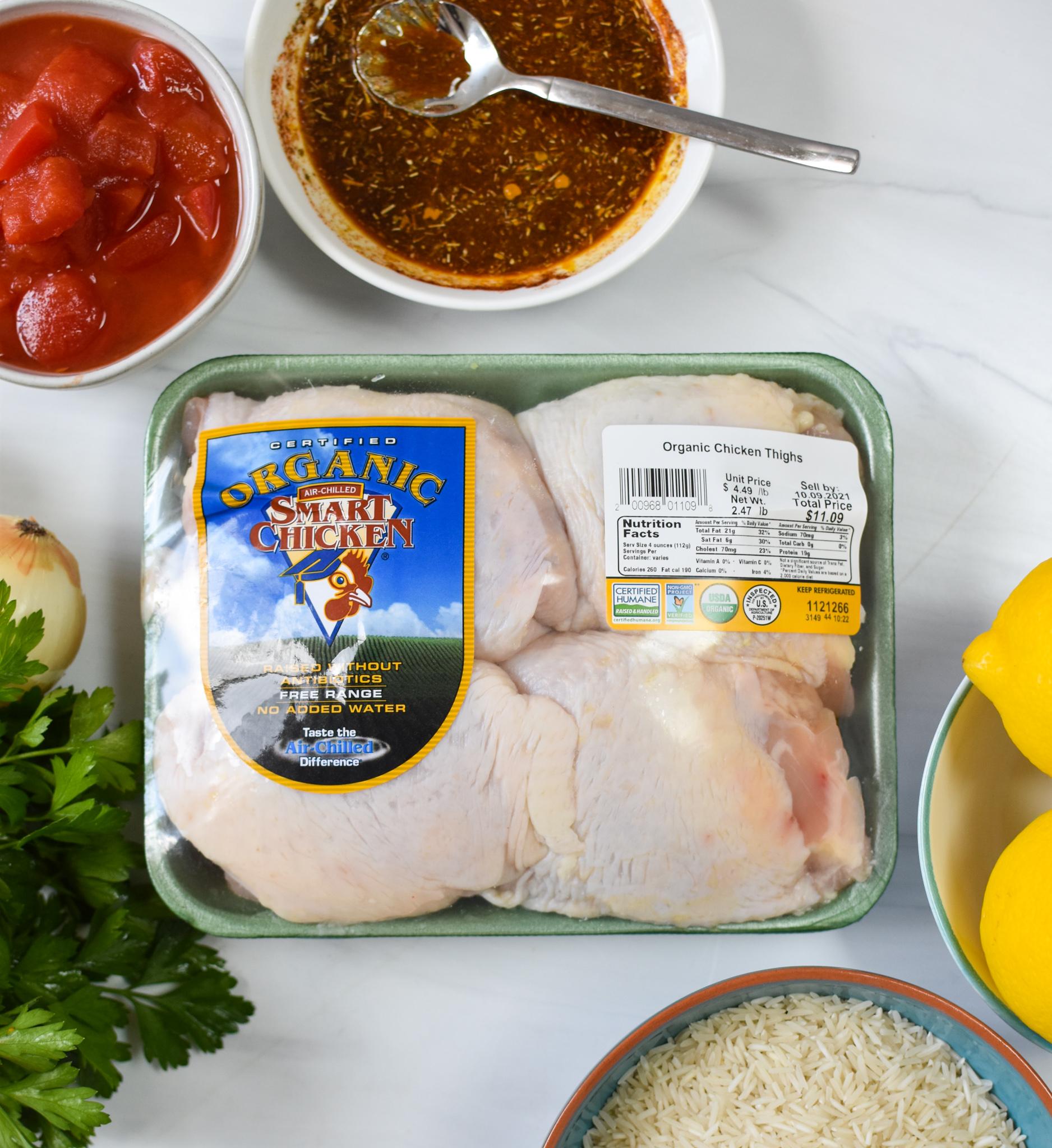 One Pot Mediterranean Chicken and Rice ingredients.