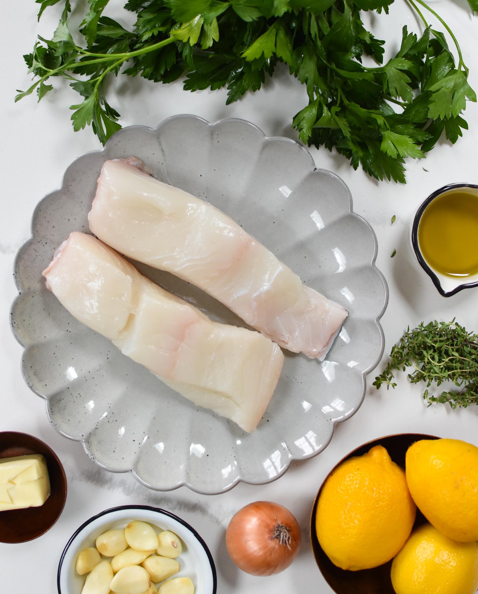 Lemon Garlic Halibut Recipe ingredients.