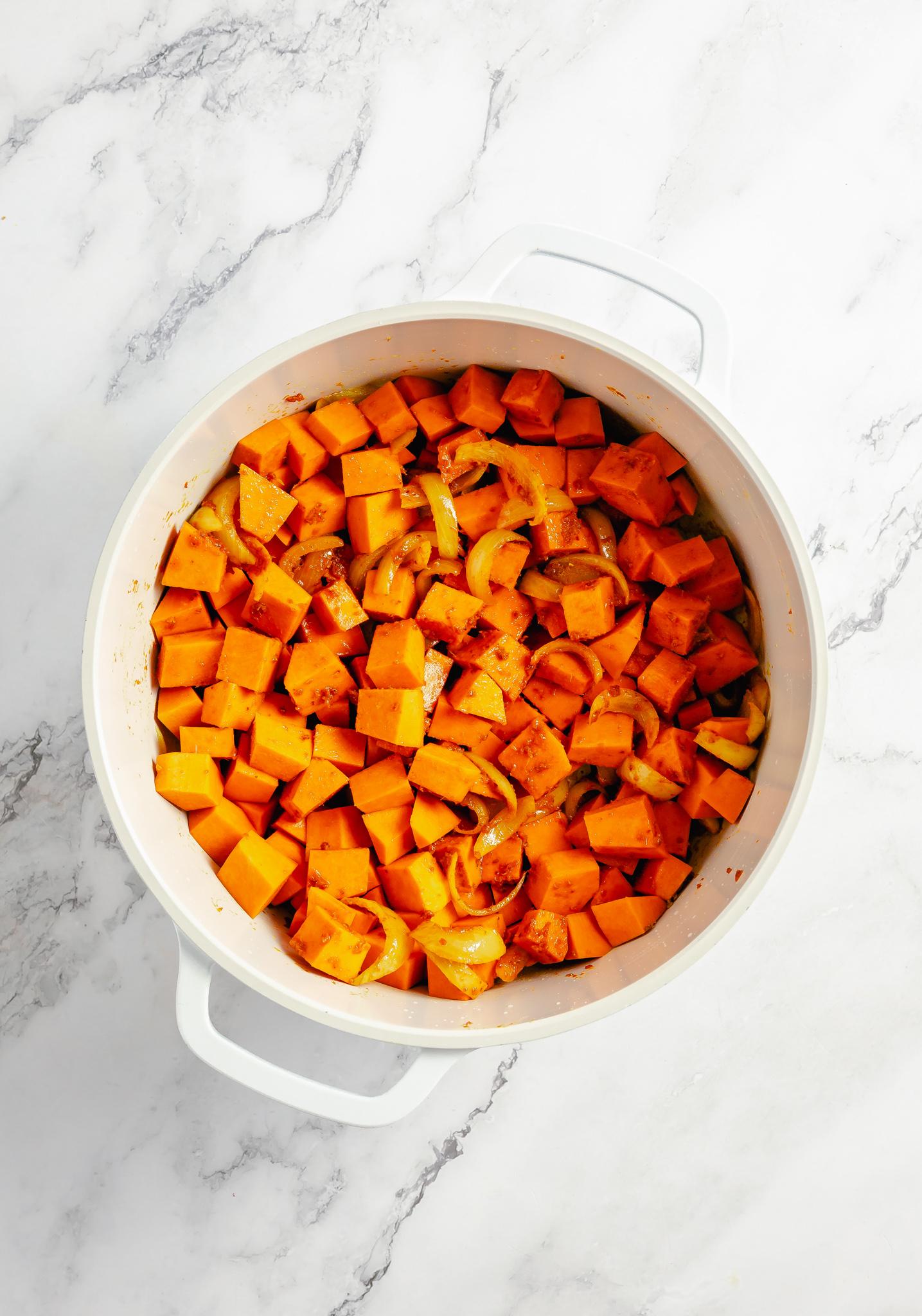 Pumpkin Curry Recipe pumpkin in a pot.