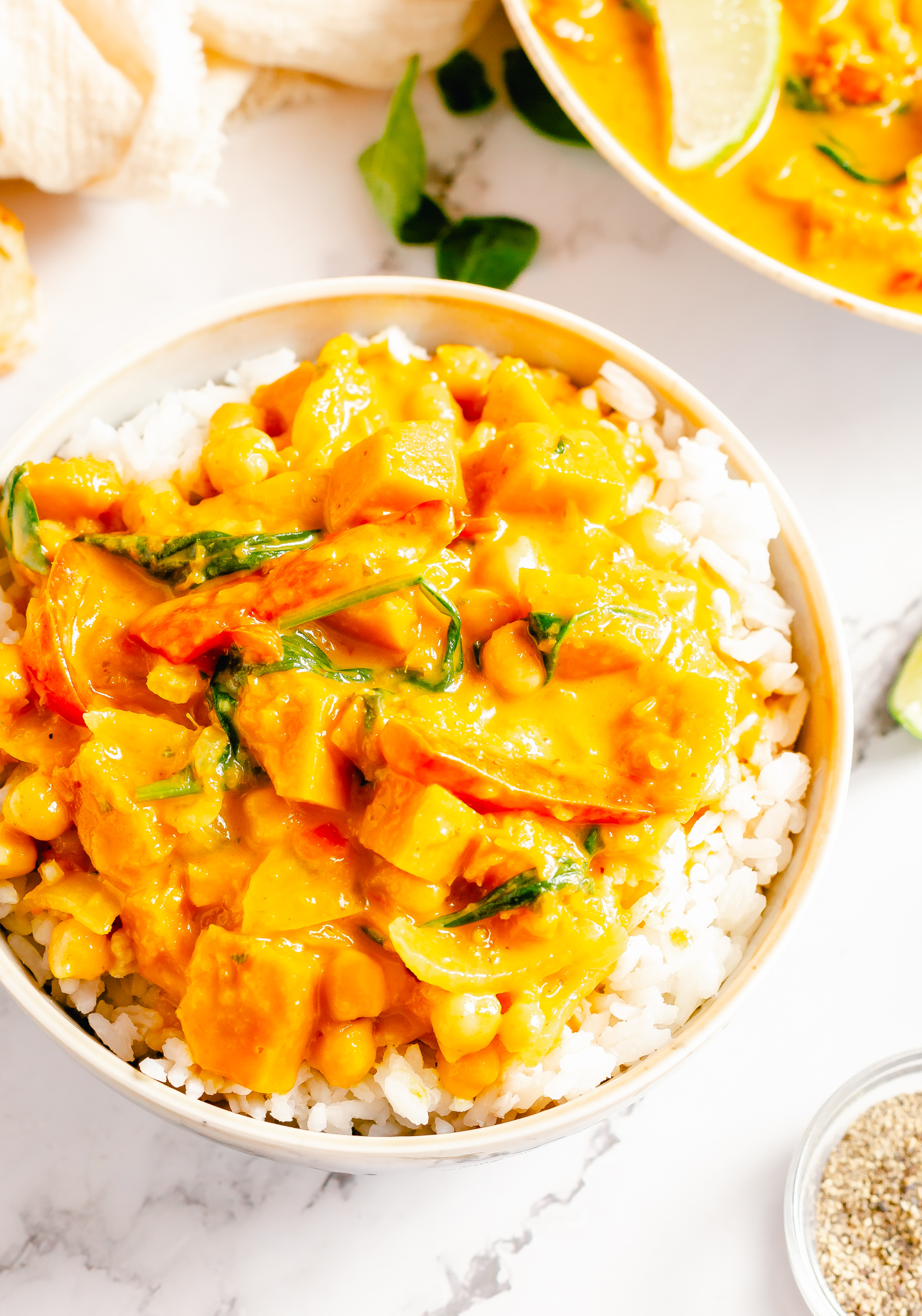 Pumpkin Curry Recipe with rice.