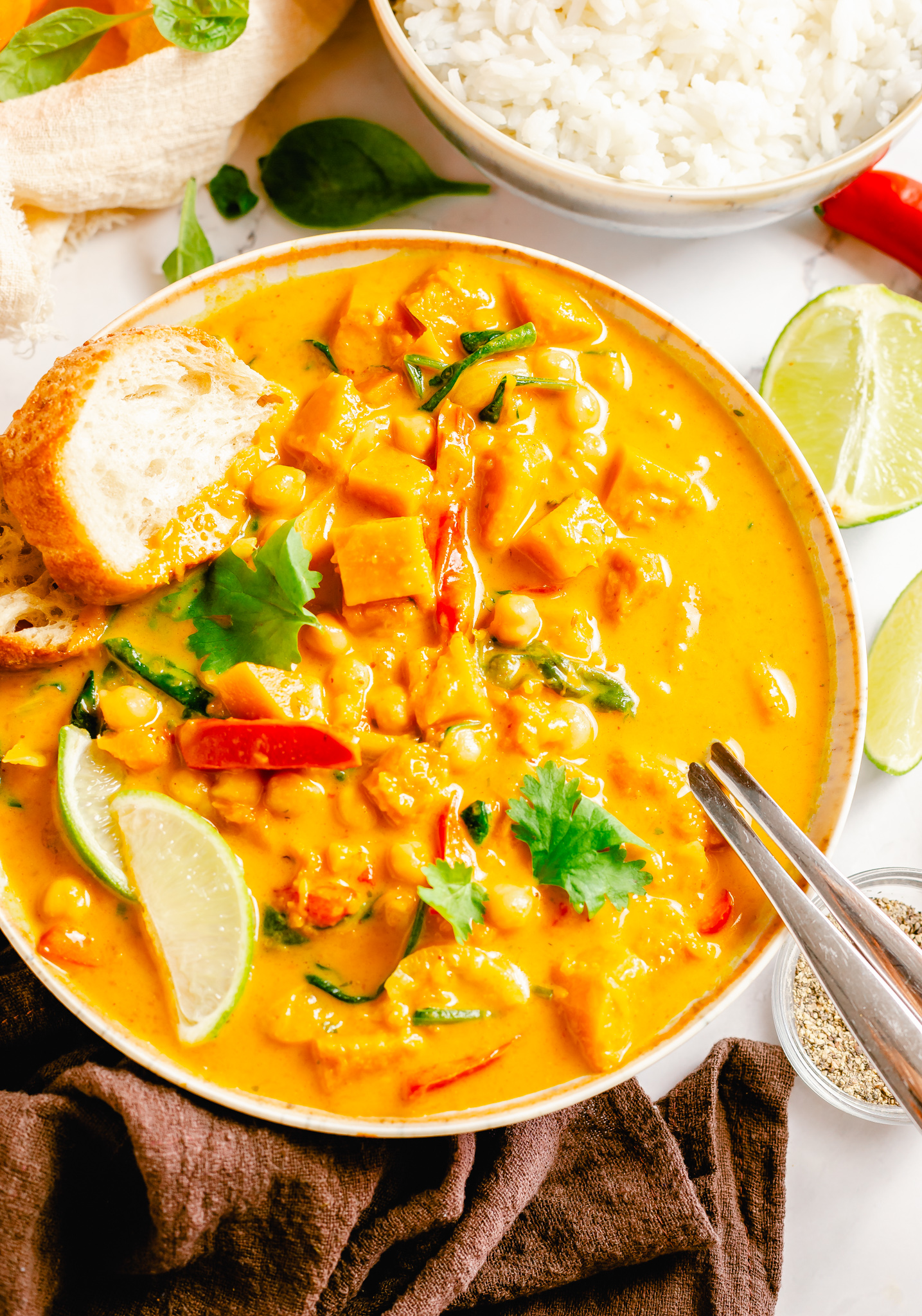 Pumpkin Curry Recipe with a spoon.