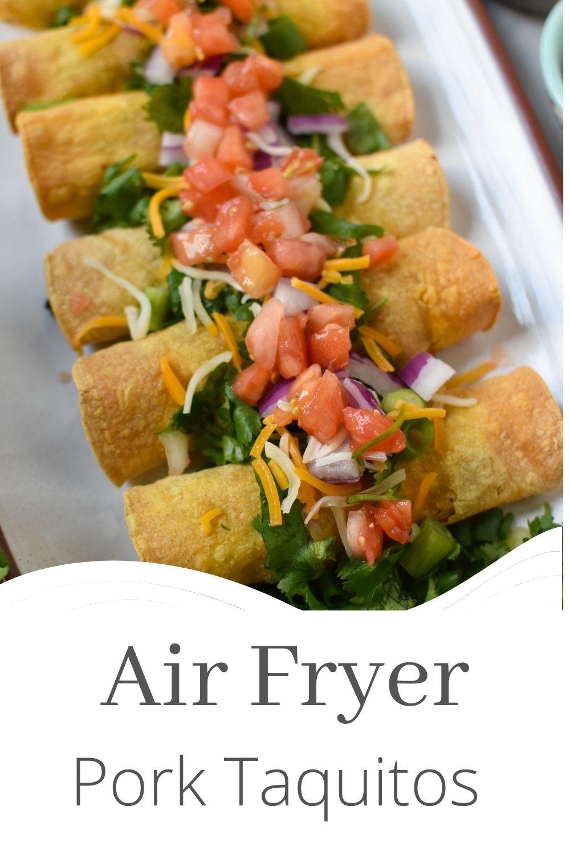 Air Fryer Pork Taquitos with logo.